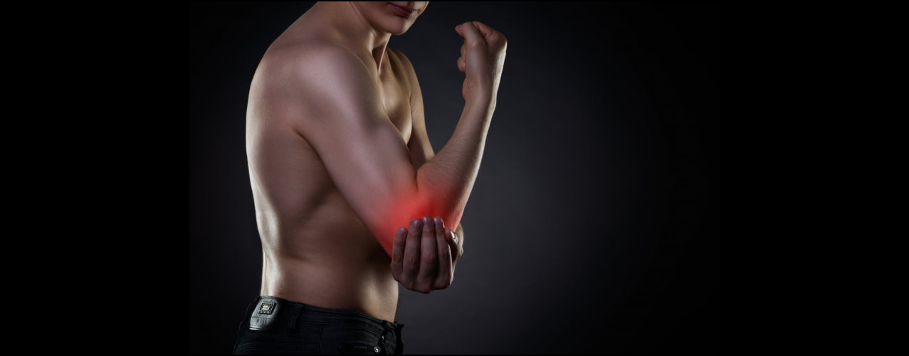 Pain in elbow, joint inflammation with red dot on black background